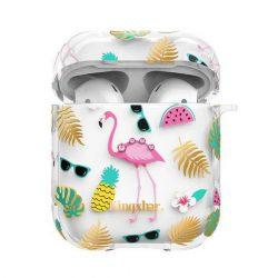 Kingxbar AirPods tok Szilikon védő doboz AirPods fejhallgató Flamingo telefontok hátlap tok