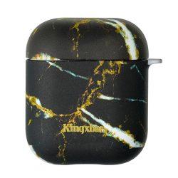 Kingxbar AirPods Case Szilikon védő doboz AirPods fejhallgató Fekete márvány tok