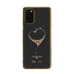 Kingxbar Wish sorozat tok díszített eredeti Swarovski kristályokkal Samsung Galaxy S20 arany telefontok