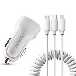 Dudao autós szett 2x USB 2.4a töltő + 3in1 Lightning / Type C / micro USB kábel fehér (R7 fehér)
