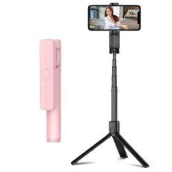 Remax szelfi selfie Stick Állvány Teleszkópos állvány és a Bluetooth távirányító pink (XT-P018 rózsaszín)