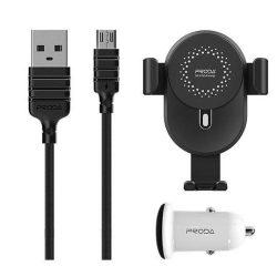 Proda kit autós tartó szellőzőnyílás + Qi 10W vezeték nélküli töltő / mikro USB-kábel / autós töltő fekete (PD-CH06 fekete)