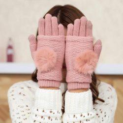 Érintőképernyő Téli kesztyű 2in1 Csíkos és Ujjatlan kesztyű csukló melegítő pink