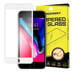 Wozinsky PRO + edzett üveg 5D FullGlue Super Tough képernyővédő fólia Teljes Coveraged kerettel iPhone 8 Plus / 7 Plus fehér kijelzőfólia üvegfólia tempered glass
