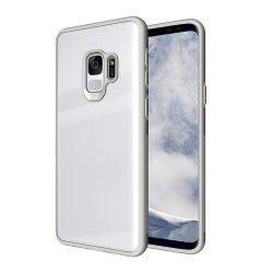 Edzett üveg telefon tok hátlap tok ütésálló edzett üveg lap Samsung Galaxy S9 G960 fehér kijelzőfólia üvegfólia tempered glass
