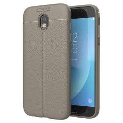 Litchi Pattern rugalmas Cover TPU tok telefon tok hátlap Samsung Galaxy J7 2017 J730 szürke