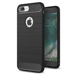 Carbon telefon tok telefontok rugalmas Cover TPU iPhone 8 Plus / 7 Plus fekete