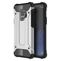 Hibrid Armor telefon tok hátlap tok Ütésálló Robusztus Cover Samsung Galaxy S9 G960 ezüst