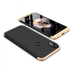 GKK 360 Protection telefon tok hátlap tok Első és hátsó tok telefon tok hátlap az egész testet fedő Xiaomi redmi 5 NOTE (dual kamera) / redmi 5 NOTE Pro fekete-arany