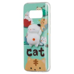 Squishy animal telefon tok telefontok (hátlap) 4D szilikon játék Samsung Galaxy A8 2018 A530 macska