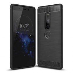 Carbon telefon tok telefontok (hátlap) rugalmas Cover TPU Sony Xperia XZ2 fekete