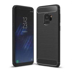 Carbon telefon tok telefontok rugalmas Cover TPU Samsung Galaxy S9 G960 fekete