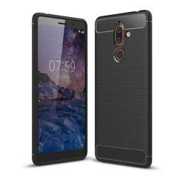 Carbon telefon tok hátlap tok rugalmas Cover TPU tok telefon tok hátlap Nokia 7 Plus fekete