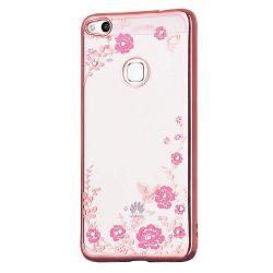 Bloomy telefon tok hátlap tok Styleos TPU Gel telefon tok hátlap tok Virág Cover Huawei P9 Lite 2017 / P8 Lite 2017 / Honor 8 Lite / Nova Lite rózsaszín