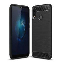 Carbon telefon tok telefontok (hátlap) rugalmas Cover TPU Huawei P20 Lite fekete