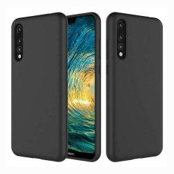 Szilikon tok telefon tok hátlap lágy rugalmas gumi védőborítás Huawei P20 Pro fekete