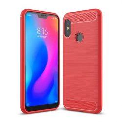 Carbon telefon tok telefontok (hátlap) rugalmas Cover TPU Xiaomi Mi A2 Lite / redmi 6 Pro piros