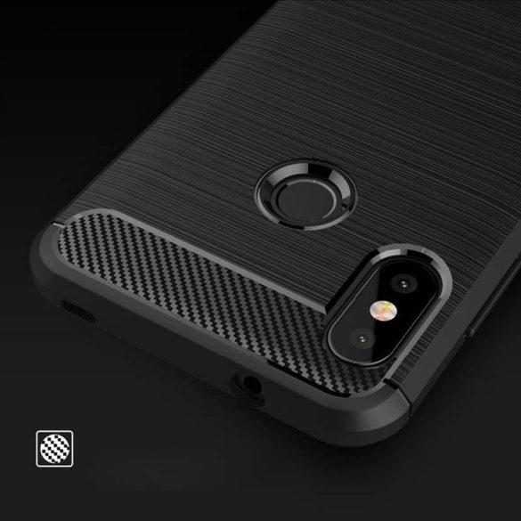 Carbon telefon tok telefontok rugalmas Cover TPU Xiaomi Mi A2 Lite / redmi 6 Pro piros