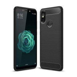 Carbon telefon tok hátlap tok rugalmas Cover TPU tok telefon tok hátlap Xiaomi Mi A2 / Mi 6X fekete