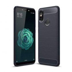 Carbon telefon tok hátlap tok rugalmas Cover TPU tok telefon tok hátlap Xiaomi Mi A2 / Mi 6X kék