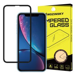 Wozinsky PRO + edzett üveg 5D Teljes Glue Super Tough képernyővédő fólia Teljes Coveraged kerettel iPhone XR / iPhone XI 6.1 fekete kijelzőfólia üvegfólia tempered glass