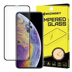 Wozinsky PRO + edzett üveg 5D Teljes Glue Super Tough képernyővédő fólia Teljes Coveraged kerettel iPhone XS / X fekete kijelzőfólia üvegfólia tempered glass