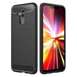 Carbon telefon tok hátlap tok rugalmas Cover TPU tok telefon tok hátlap Huawei Mate 20 Lite fekete