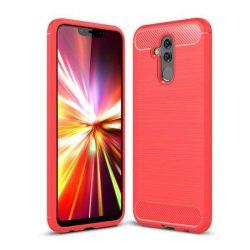 Carbon telefon tok hátlap tok rugalmas Cover TPU tok telefon tok hátlap Huawei Mate 20 Lite piros