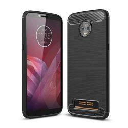 Carbon telefon tok hátlap tok rugalmas Cover TPU tok telefon tok hátlap Motorola Motorola Z3 fekete
