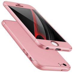 GKK 360 Protection telefon tok telefontok Első és hátsó az egész testet fedő iPhone SE / 5S / 5 rózsaszín