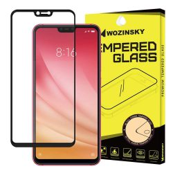 Wozinsky edzett üveg Teljes Glue Super Tough képernyővédő fólia Teljes Coveraged kerettel telefon tok hátlap tok barátságos Xiaomi Mi 8 Lite fekete kijelzőfólia üvegfólia tempered glass