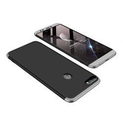 GKK 360 Protection telefon tok telefontok Első és hátsó az egész testet fedő Huawei Y7 Prime 2018 fekete-ezüst