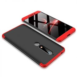 GKK 360 Protection telefon tok hátlap tok Első és hátsó tok telefon tok hátlap az egész testet fedő Nokia 6.1 fekete-piros