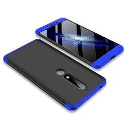 GKK 360 Protection telefon tok hátlap tok Első és hátsó tok telefon tok hátlap az egész testet fedő Nokia 6.1 fekete-kék