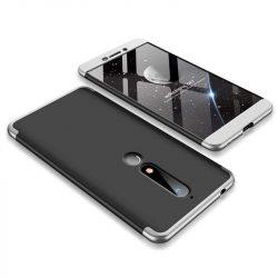 GKK 360 Protection telefon tok hátlap tok Első és hátsó tok telefon tok hátlap az egész testet fedő Nokia 6.1 fekete-ezüst