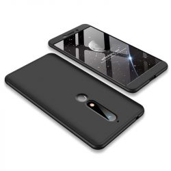 GKK 360 Protection telefon tok hátlap tok Első és hátsó tok telefon tok hátlap az egész testet fedő Nokia 6.1 fekete