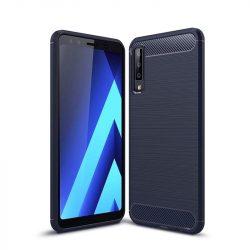 Carbon telefon tok hátlap tok rugalmas Cover TPU tok telefon tok hátlap Samsung Galaxy A7 2018 A750 kék