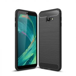 Carbon telefon tok hátlap tok rugalmas Cover TPU tok telefon tok hátlap Samsung Galaxy J4 Plus 2018 J415 fekete