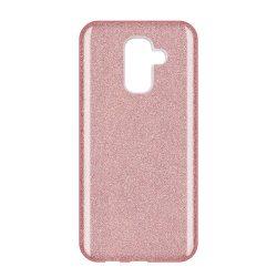 Wozinsky Glitter telefon tok hátlap tok Fényes Cover Samsung Galaxy A6 Plus 2018 A605 világos rózsaszín