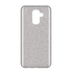 Wozinsky Glitter telefon tok hátlap tok Fényes Cover Samsung Galaxy A6 Plus 2018 A605 ezüst