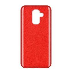 Wozinsky Glitter telefon tok hátlap tok Fényes Cover Samsung Galaxy A6 Plus 2018 A605 piros