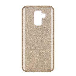 Wozinsky Glitter telefon tok hátlap tok Shining Cover Samsung Galaxy A6 Plus 2018 A605 arany