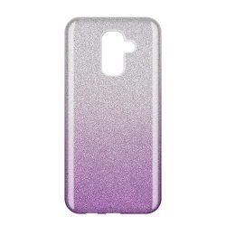 Wozinsky Glitter telefon tok hátlap tok Fényes Cover Samsung Galaxy A6 Plus 2018 A605 lila