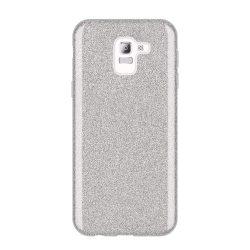 Wozinsky Glitter telefon tok hátlap tok Fényes Cover Samsung Galaxy J6 2018 J600 ezüst
