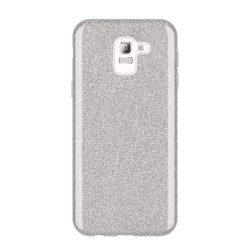 Wozinsky Glitter telefon tok telefontok Fényes Cover Samsung Galaxy J6 2018 J600 ezüst