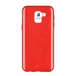 Wozinsky Glitter telefon tok hátlap tok Shining Cover Samsung Galaxy J6 2018 J600 piros