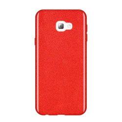 Wozinsky Glitter telefon tok hátlap tok Shining Cover Samsung Galaxy J4 Plus 2018 J415 piros