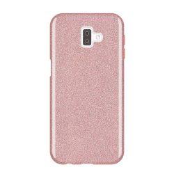 Wozinsky Glitter telefon tok hátlap tok Fényes Cover Samsung Galaxy J6 Plus 2018 J610 rózsaszín