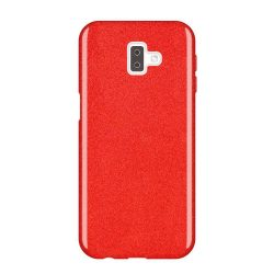 Wozinsky Glitter telefon tok hátlap tok Shining Cover Samsung Galaxy J6 Plus 2018 J610 piros