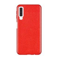 Wozinsky Glitter telefon tok hátlap tok Fényes Cover Samsung Galaxy A7 2018 A750 piros